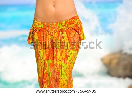 view of nice woman belly in summer environment
