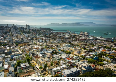 View of North Beach and the San Francisco Bay from Coit Tower, in San Francisco, California.