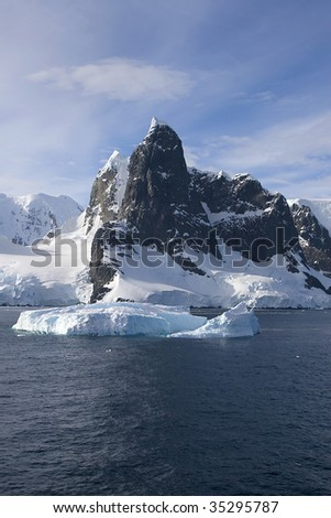 View of north entrance to Lemaire Channel, Antarctica