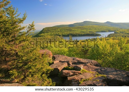 View of North-South Lake and the Hudson Valley in the Catskills Mountains in upstate New York State