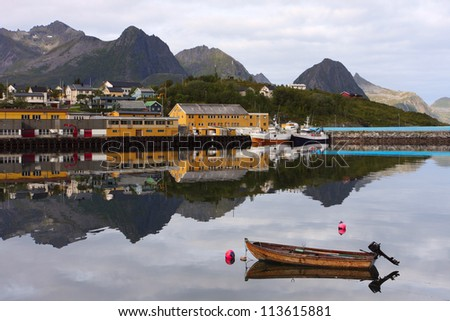 view of norwegian fisherman village, Senja island, Norway