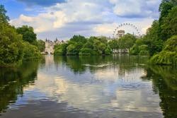 view of oak island in saint james park, london