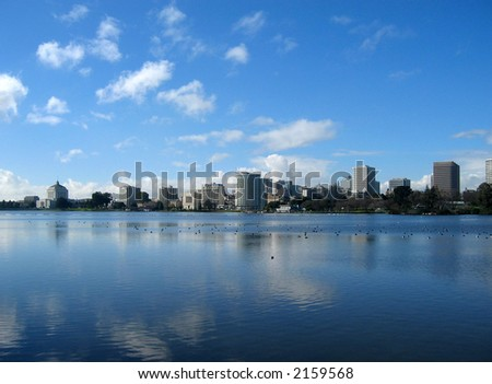 View of Oakland from Lake Merritt, California