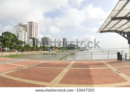 view of offices condominiums harbor and las penas from malecon 2000 historic district art center guayaquil ecuador