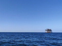 View of offshore platform decommissioned at Caspian Sea.