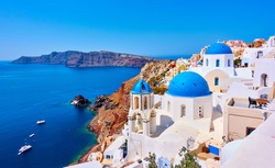 View of Oia town in Santorini island in Greece -- Greek landscape