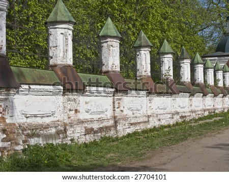 View of old church brick fence in Kostroma, Russia