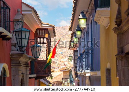 Shutterstock View of old colonial buildings on Jaen Street in La Paz, Bolivia