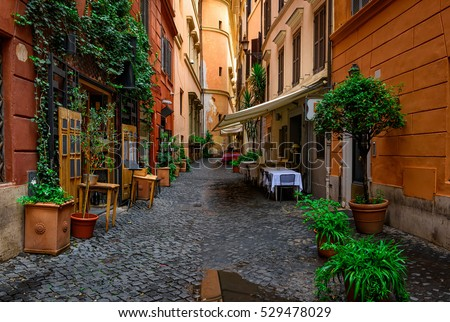 stock photo view of old cozy street in rome italy architecture and landmark of rome postcard of rome 529478029 - Каталог — Фотообои «Улицы, переулки»