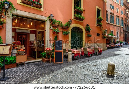 View of old cozy street in Rome, Italy. Architecture and landmark of Rome. Postcard of Rome #772266631