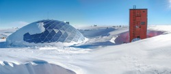 View of old Dome base at American Amundsen-Scott South Pole Station in Antarctica