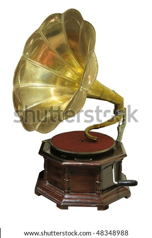 View of old-fashioned gramophone isolated on white background