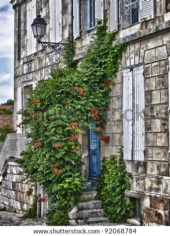 View of old house in la rochelle France - stock photo