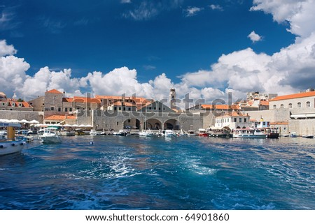 view of old port in Dubrovnik, Croatia