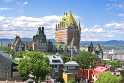 View of old Quebec and the Château Frontenac, Quebec, Canada. It was designated a National Historic Site of Canada during 1980. the site was the residence of the British governors of Lower Canada.
