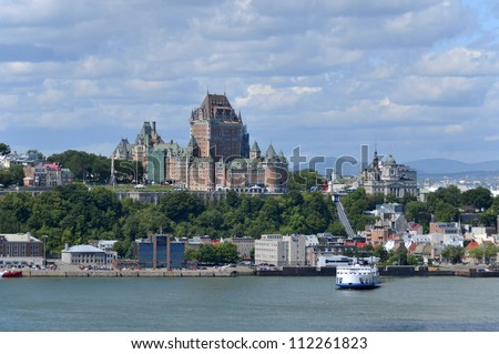 View of old Quebec and the Ch�¢teau Frontenac, Quebec, Canada. It was designated a National Historic Site of Canada during 1980. the site was the residence of the British governors of Lower Canada.
