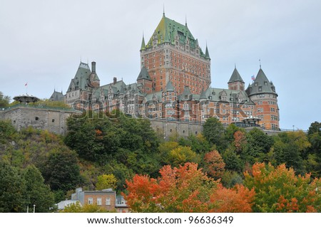 View of old Quebec, the Château Frontenac, Quebec, Canada. It was designated a National Historic Site of Canada during 1980. the site was the residence of the British governors of Lower Canada.