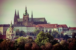 View of old town and Prague castle, Czech Republic