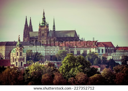 View of old town and Prague castle, Czech Republic Stock photo ©