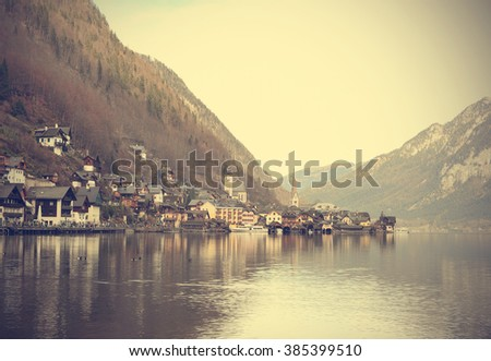 View of old town Hallstatt Village in early winter, Austria (Vintage filter)