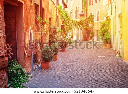 view of old town italian street in Trastevere with sunshine, Rome, Italy #521048647