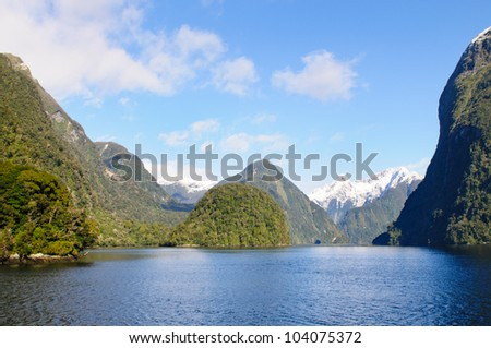 view of one of the arms of Doubtful Sound in the south Island of New Zealand