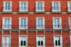 View of one of the facades of the buildings in the Plaza Mayor in Madrid, Spain