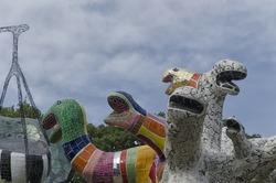 View of one of the tarot garden sculptures