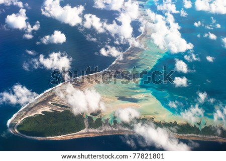 View of one of the Tuamotu Atoll, French Polynesia