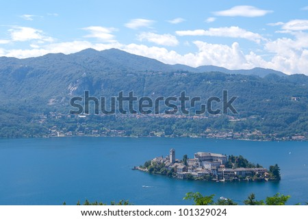 View of Orta San Giulio island on Orta Lake in Italy