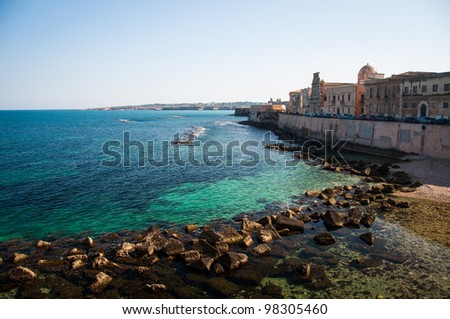 View of Ortigia and the Mediterranean sea in Syracuse, Sicily, Italy