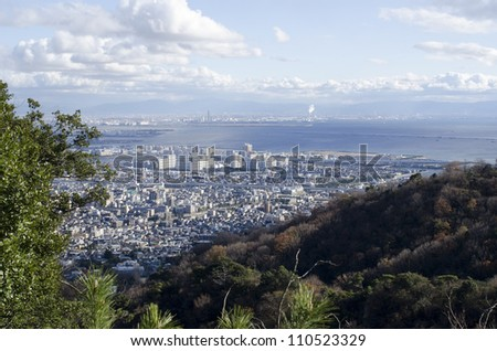 View of Osaka bay from the surrounding mountains