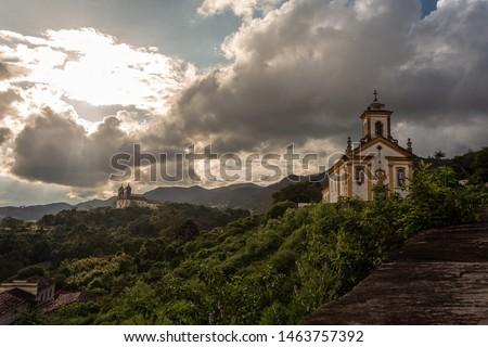 View of Ouro Preto with the churches of Nossa Senhora das Mercês and Misericórdia and São Francisco de Paula. Ouro Preto, Minas Gerais, Brazil.