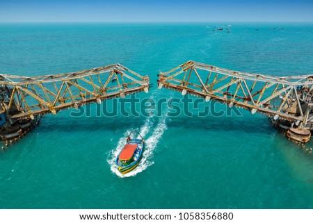 View of Pamban bridge in Rameshwaram. First indian bridge, which connects Pamban island and mainland India.