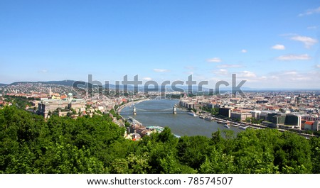 view of panorama Budapest, Hungary, from fortress Citadel