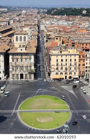view of panorama Rome, Italy, skyline from Vittorio Emanuele, Piazza Venezia - stock photo