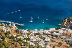 View of Panteli overlooking the bay of the same name on the east coast of the Greek island of Leros in the Dodecanese