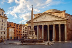 View of Pantheon basilica in centre of Rome, Italy