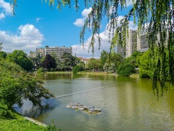 View of Parc Montsouris in spring in Paris France