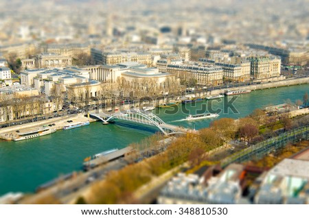 View of Paris from the eiffel tower, tilt-shift effect, France - stock photo