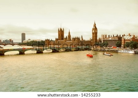 View of Parliament and Thames River - London, UK.