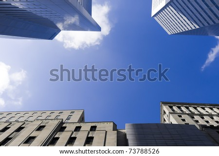 View of part of four buildings, view from the ground # 2