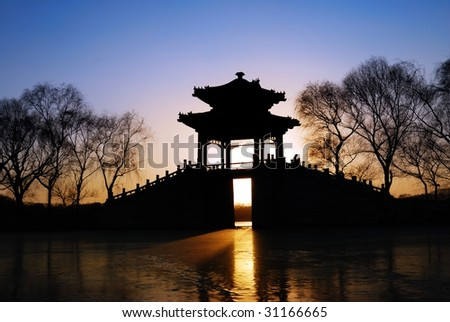 View of Pavilion in sunset,Summer Palace of Beijing,China.