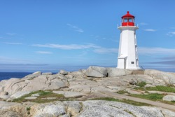 View of Peggy's Cove Lighthouse in Nova Scotia