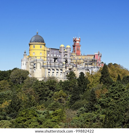 view of Pena castle in sintra in Portugal - stock photo
