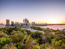 View of Perth CBD abd the Swan river in the morning from Kings Park, Western Australia