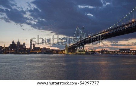 View of Philadelphia and the Benjamin Franklin Bridge over the Delaware River.