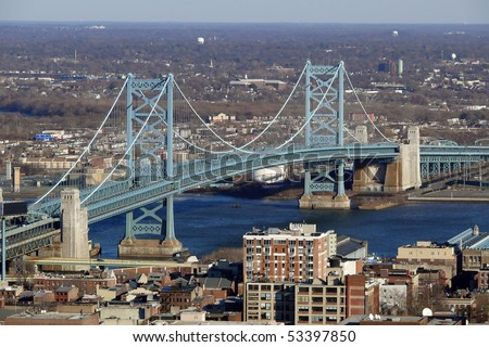 View of Philadelphia's Ben Franklin bridge with New Jersey beyond.