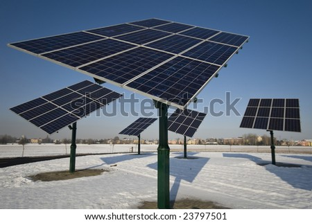 View of photovoltaic panels rotating