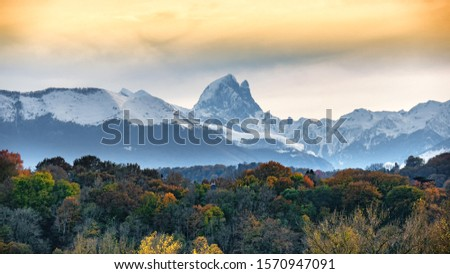view of Pic du Midi Ossau in autumn, french Pyrenees mountains